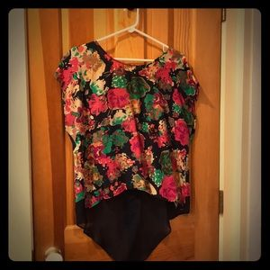 Anthropologie Maeve silk floral shirt size 8